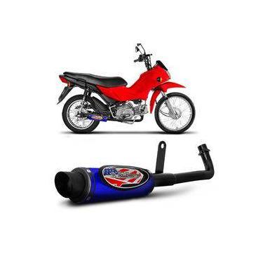 Escapamento Moto Esportivo Pop 100 2006 A 2015 Shutt Powerbomb Sem Protetor Azul E Preto