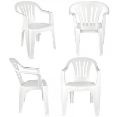 Cadeira Tipo Poltrona em Plástico Bela Vista Branca com 4 Peças MOR