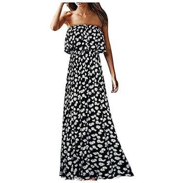 Imagem de Vestido longo floral boêmio sem alças com babados na bainha tomara que caia – 22 estilos, #007: branco, XXG