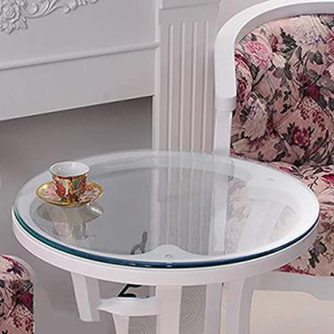 Imagem de Protetor de mesa de toalha de mesa redonda 80 cm, mesa de toalha de mesa de plástico extra claro com faixa elástica, capa de vinil impermeável para mesa redonda para mesa de jantar