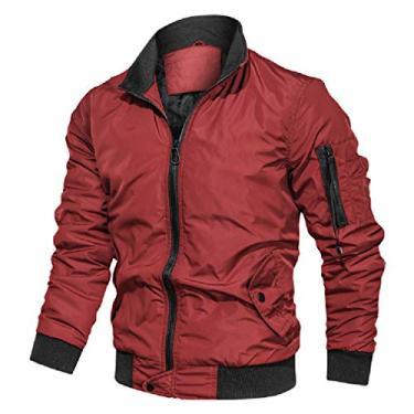 Jaqueta masculina acolchoada de inverno UUYUK MA-1 Flight Bomber jaqueta grossa agasalho, Vermelho, Small