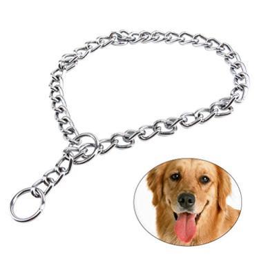 Coleira de cachorro - Coleira para cães de estimação com corrente extra pesada de treinamento de cão com elo 2,0 mm * 45 cm