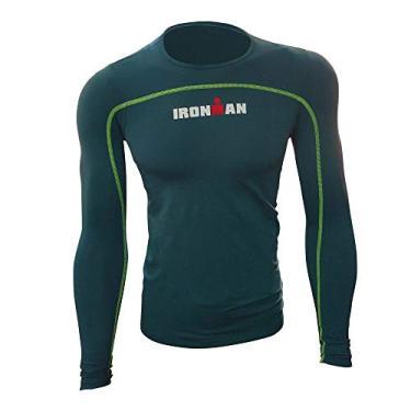 Camisa de Alta Compressão Ed. Especial IronMan Manga Longa Masculina - Verde Escuro GG