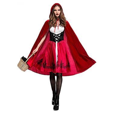 Imagem de biliten Fantasia de Chapeuzinho Vermelho para cosplay, fantasia de conto de fadas e histórias, boate, rainha, Halloween, Natal, festa de encenação