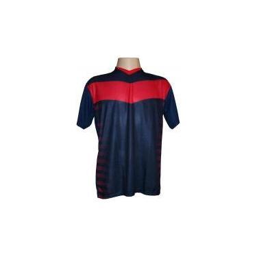 Jogo de Camisa com 14 unidades modelo Dubai Marinho Vermelho + 1 Goleiro +  Brindes 61d9e4306cbd0