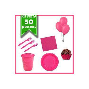 Kit Descartáveis Rosa Pink 50 Pessoas