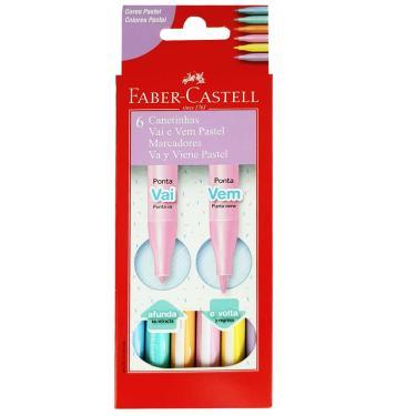 Canetinha Hidrográfica 6 Cores Vai e Vem Pastel Faber Castell 1027037