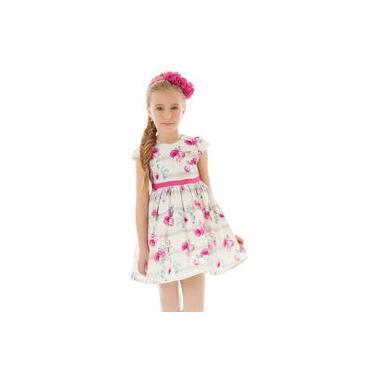 Vestido Infantil Em Tafetá Acetinado Creme Com Flores Pink Hello Kitty