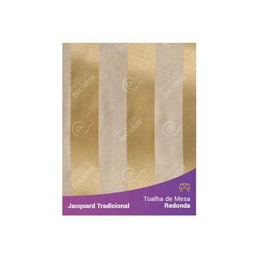 Imagem de Toalha De Mesa Redonda Em Tecido Jacquard Dourado Listrado Tradicional