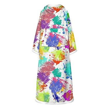 Doufine Vestidos femininos quentes com estampa tie dye de manga comprida e estampa digital, As5, One Size
