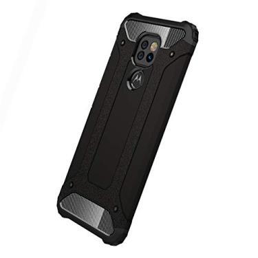MOONCASE Capa para Motorola Moto G9 Play, Capa Grau militar absorção de choque Camada dupla PC & TPU Tampa de proteção para Motorola Moto G9 Play - Preto