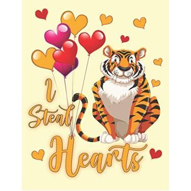 Imagem de I Steal Hearts: Cute Bengal Tiger Cat Kids Composition 8.5 by 11 Notebook Valentine Card Alternative
