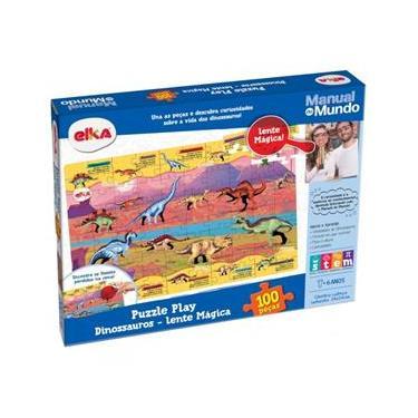 Imagem de Puzzle Dinossauros 100 Pecas Manual Do Mundo Elka