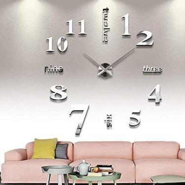 Relógio de parede Goodjobb grande com espelho 3D, relógio de parede de luxo 3D DIY para decoração de casa, sala de estar espelhada