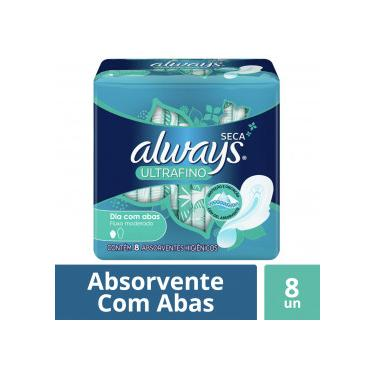 Absorvente Always Ultrafino Gel Malha Seca com Abas c/8