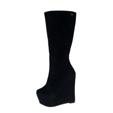 Bota Anabela Salto Alto Week Shoes Camurção Preto  feminino