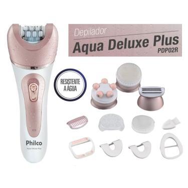 Depilador Philco Aqua Deluxe Plus  - Pdp02r - Com 9 Acessórios - Uso Seco Ou Úmido