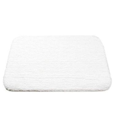 Imagem de Tapete de banheiro branco macio Shag absorvente de água com borracha antiderrapante, tapete de banheiro lavável para sala de estar, 61 x 91 cm, tapete de banheiro e quarto tamanho grande