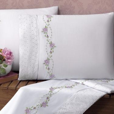 Imagem de Jogo de Cama Queen Bouquet 4 Peças 200 Fios Percal Casaborda Branco