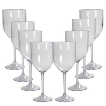 8 Taças Vinho Transparente Acrílico