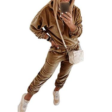 VamJump moletom feminino de veludo com ombro de fora, calça jogger 2 peças, Marrom com capuz, XL