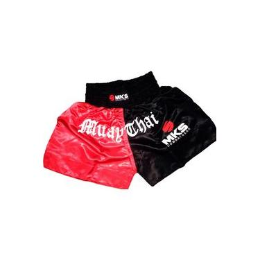 Short Muay Thai MKS Preto / Vermelho
