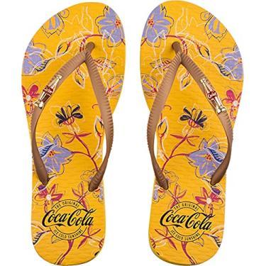 Imagem de Sandálias Coca-Cola, Fresh Garden, Amarelo/Ouro 2, Feminino, 38