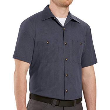 Imagem de Red Kap Camisa masculina Performance Tech 7 botões, Cáqui/preto, 3X-Large