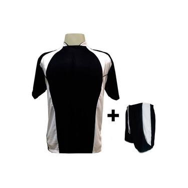 Imagem de Uniforme Esportivo com 14 camisas modelo Suécia Preto/Branco + 14 calções modelo Copa Preto/Branco +