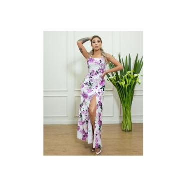 Vestido Miss Misses longo com fenda Estampa Floral Lilás