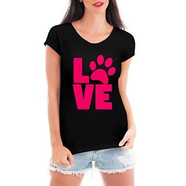 Camiseta Feminina Love Pet - Camisas Engraçadas e Divertidas - Cachorro - Gato - Dog - Cat - Tumblr (Preto, M)