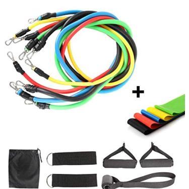 Kit 11 peças Elásticos para Exercício Extensor Funcional + 5 Faixas Super Band Elástico Extensor para yoga fitness Loop Bands