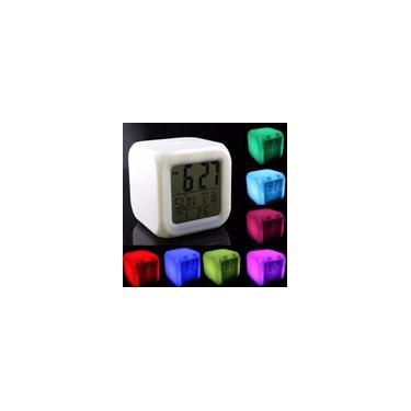 Imagem de Relogio Cubo Despertador Termometro Luminária Led Cores