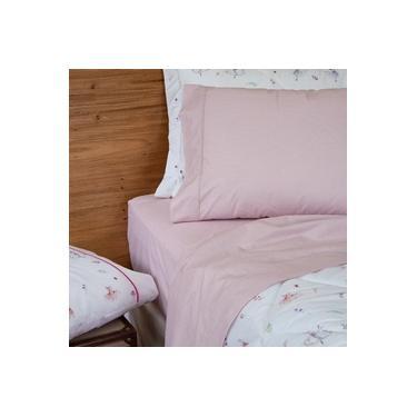 Imagem de jogo de cama queen scavone 200 fios 100% algodão básico stripes rosa