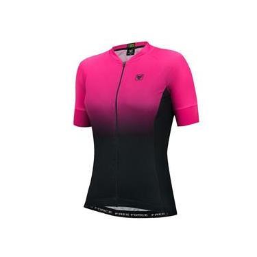 Camisa Ciclista Free Force Feminina Dual Preta e Rosa Tam P