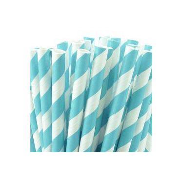 Canudo De Papel Listra Grossa Azul Claro 20 Unidades Plastifer