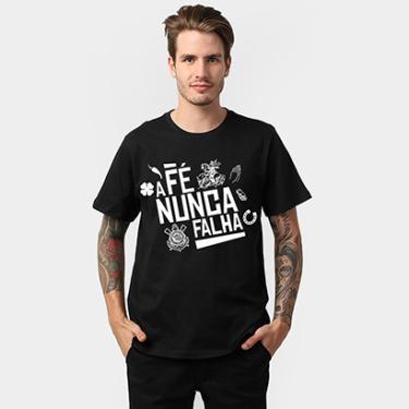 Camiseta Corinthians - A Fé Nunca Falha Masculina - Masculino ef7d2ce6f175b