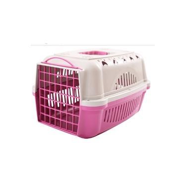 Caixa De Transporte Para Cães Gatos Numero 1 Durapets Cor Rosa
