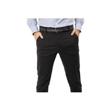 Calça Masculina Preta Alfaiataria Sarja Com Elastano