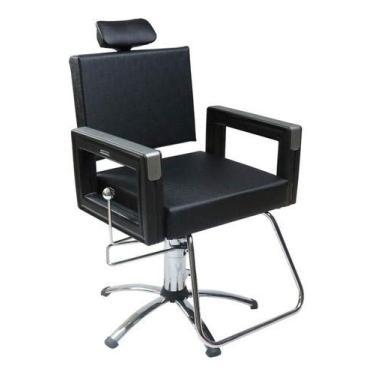 Square Base Estrela Dompel Poltrona Cadeira Reclinavel P/Barbeiro Maquiagem Salao Preto