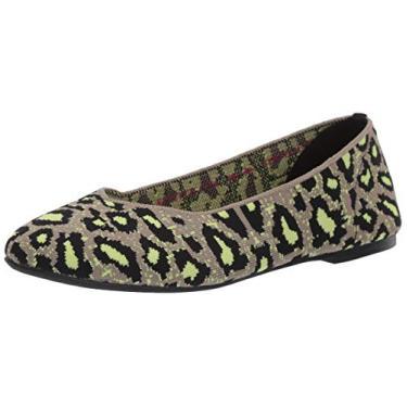 Sapatilha de balé feminina Skechers, Taupe/Lime, 10