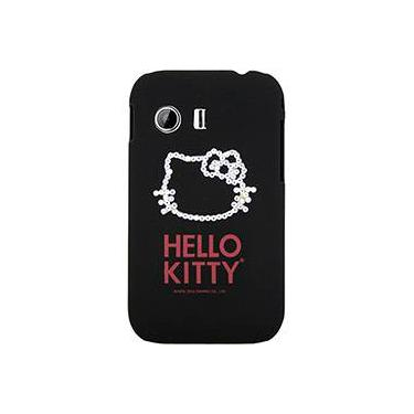 Capa para Celular Galaxy Y Hello Kitty Cristais Policarbonato Preta - Case Mix