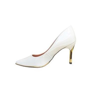 Scarpin Le Bianco Maranello Salto Alto Fino Dourado Branco em Verniz