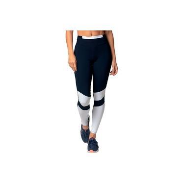 Legging Poliamida UV50+ Azul Marinho com Recortes Branco