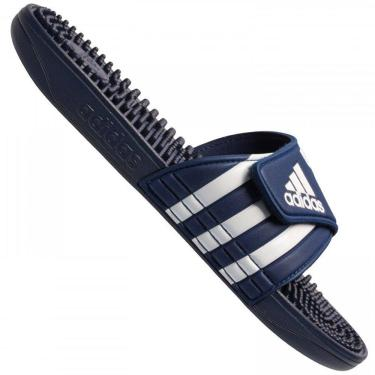 Chinelo Adidas Adissage Unissex F35579, Cor: Azul Marinho/Branco, Tamanho: 44/45