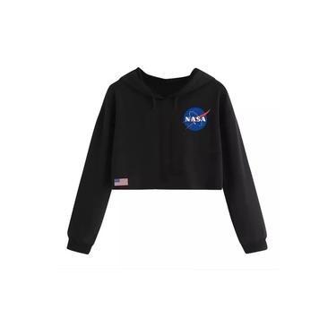 Cropped Blusa Moletom nasa preto cropped tumblr