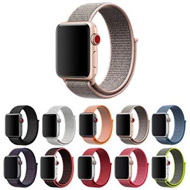 Pulseira Nylon Loop para Apple Watch 40mm e 38mm Series 1 2 3 4 5 - Marca Ltimports (Rosa)