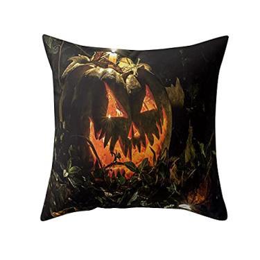 Imagem de SL&LFJ Capa de almofada com tema de Halloween Capa de almofada de algodão para decoração de escritório para sofá, cama, sofá, decoração de carro, festa, festival, sala de estar, presente para a família (cor: E)