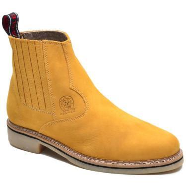 Imagem de Bota Chelsea Masculina Couro Sola Borracha Conforto Botina Amarelo 34 Amarelo  masculino