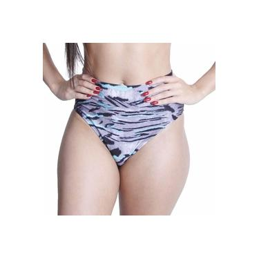 Calcinha Biquíni Hot Pants Elastano Estampado Onça Conforto Cinza/Preto